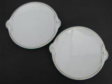 vintage ironstone serving plates, knot pattern handles