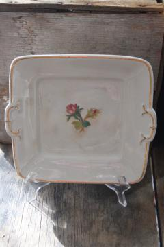 vintage ironstone tray or square cake plate, 1800s Wedgwood Stone Granite stamped mark