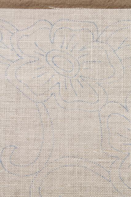 Vintage ivory linen fabric stamped for cutwork embroidery