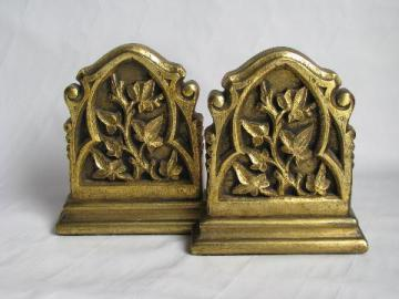 vintage ivy chalkware bookends, book ends w/ antique florentine gold, Borghese - Italy
