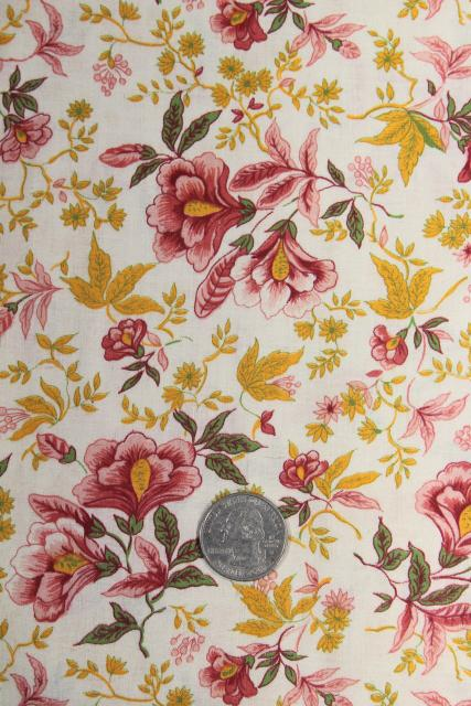 vintage jacobean floral print cotton fabric, coral pink & mustard gold on white