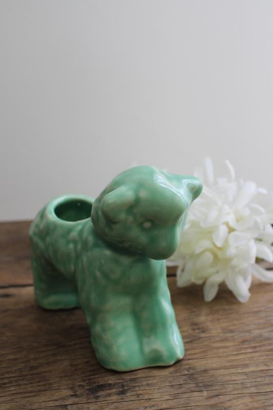 vintage jade green McCoy pottery baby lamb planter, retro Easter spring decor