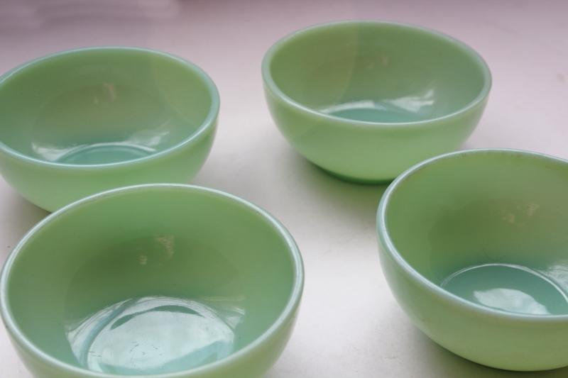 vintage jadeite Fire King heavy glass soup or chili bowls set, jadite green glassware