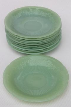 vintage jadeite saucer plates, Fire-King Alice jadite set of 10 matching saucers