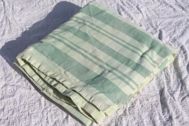 vintage jadite green camp bunk blanket double long fold over cotton / rayon sheet blanket