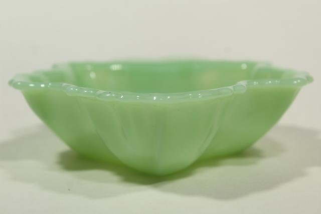 vintage jadite green glassware, leaf shaped dishes Fire King jadeite glass maple leaves