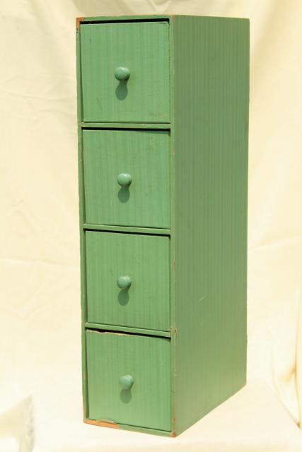 Vintage Jadite Green Wallpaper Covered Storage Drawers, Tall Narrow  Vertical Or Horizontal