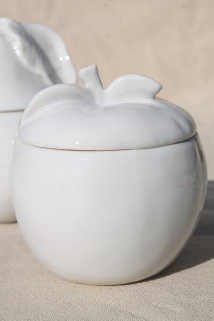 vintage jam pots, pure white porcelain apple & pear fruit preserve jars