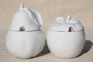 vintage jam pots, pure white porcelain apple & pear fruit preserve jars