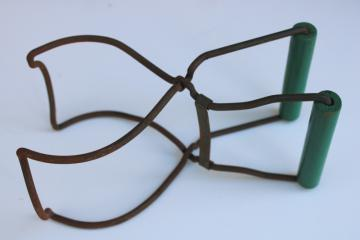 vintage jar lifter canning tongs, old green painted wood handle kitchen tool