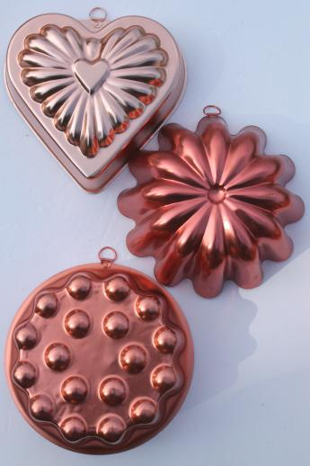 vintage jello mold lot, retro pink & copper tint aluminum pans / molds