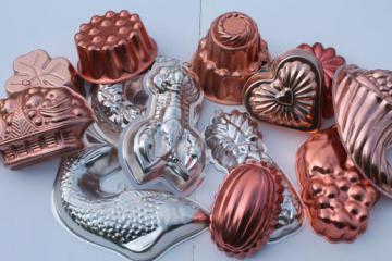 vintage jello mold lot, retro pink & copper tint aluminum pans / molds