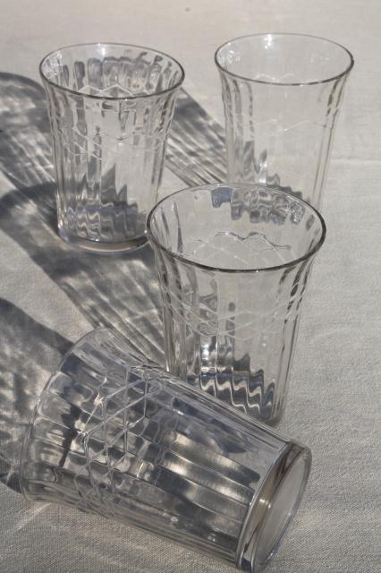 vintage jelly glasses / kitchen glass tumblers, paneled ...