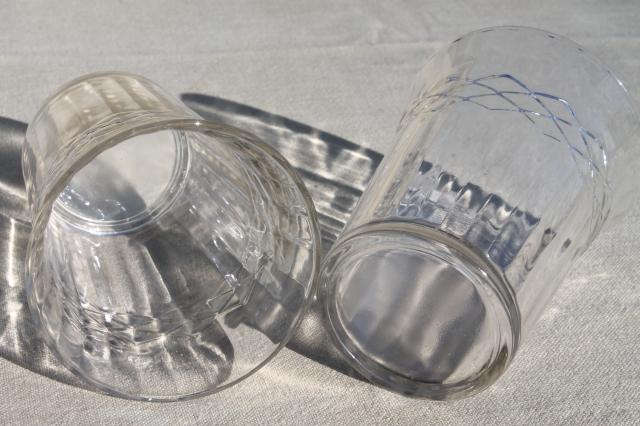 vintage jelly glasses / kitchen glass tumblers, paneled optic pattern drinking glasses