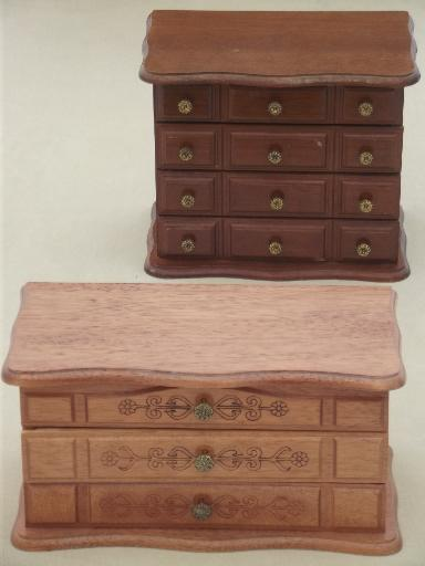 vintage jewelry boxes, two wood chests w/ tiny velvet lined drawers