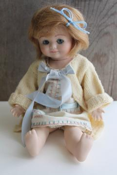 vintage jointed bisque china doll marked Germany, girl doll w/ glass eyes
