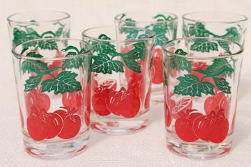 vintage juice glasses set w/ red tomato print, glass tumblers from cheese or jelly jars