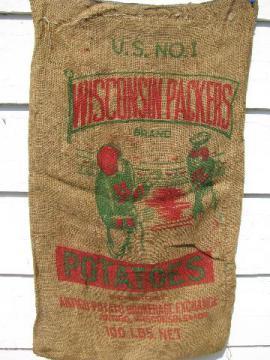 vintage jute potato bag, burlap sack w/ Wisconsin Packers football graphics