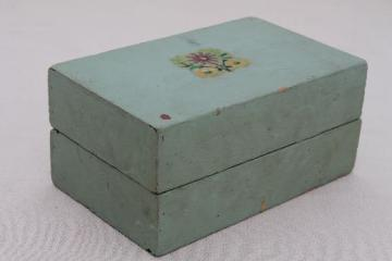 vintage keepsake box, shabby painted wooden box w/ old floral decal on green