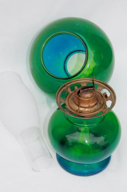vintage kero oil lamp    wind parlor lamp  blue green tinted glass globe shade