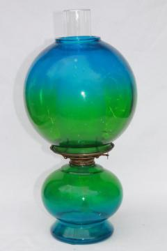 vintage kero oil lamp, gone with the wind parlor lamp w/ blue green tinted glass globe shade