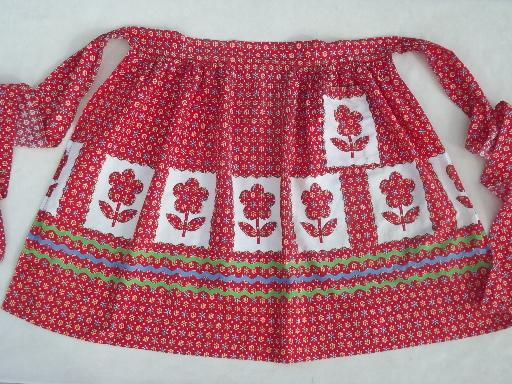 vintage kitchen apron, rick-rack print printed applique tulips cotton fabric