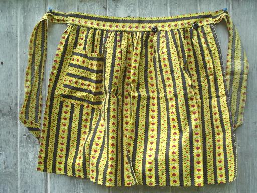 vintage kitchen aprons, pretty cotton print & gingham checked half apron lot