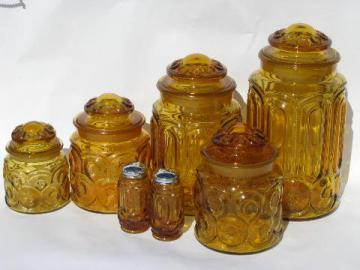 vintage kitchen canister jars & shakers set, moon & stars pattern amber glass