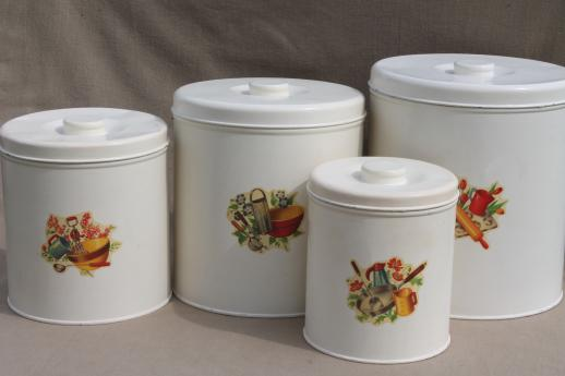 Vintage Kitchen Canisters, Metal Canister Set, Tins W/ Cute Retro Decals