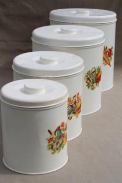 vintage kitchen canisters metal canister set tins w/ cute retro decals & pantry storage - canisters u0026 spice jars