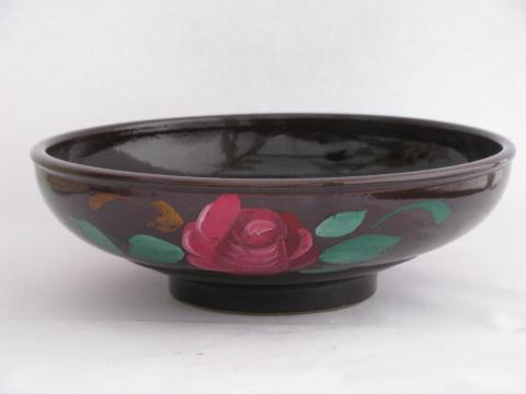 vintage kitchen crockery, big old bowl w/ hand-painted roses, stoneware crock pottery