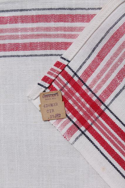 vintage kitchen dish towels striped linen and cotton