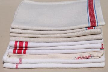 vintage kitchen dish towels, striped linen and cotton towel lot of 10