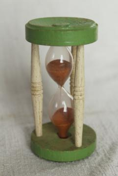 vintage kitchen egg timer, 1920s or 1930s wood hourglass w/ jadite green & cream paint
