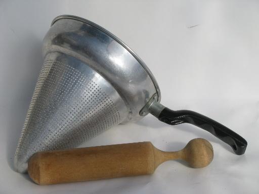 Antique Kitchen Tools ~ Vintage kitchen food mill juicer strainer sieve cone