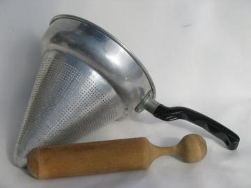 vintage kitchen food mill / juicer, strainer sieve cone and wood masher