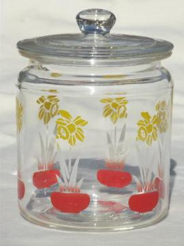 vintage kitchen glass canister jar w/ painted daffodils, swanky swigs style