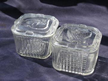 vintage kitchen glass fridge boxes for refrigerator storage, vegetable pattern