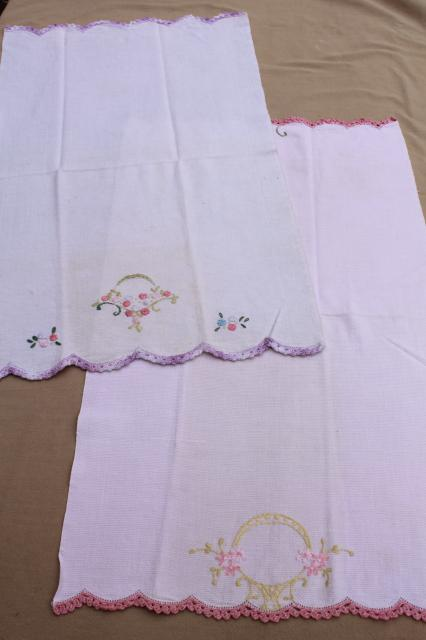 vintage kitchen linens lot, embroidered tea towels, cotton dish towels w/ embroidery