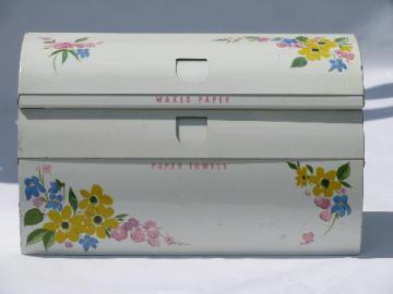 vintage kitchen paper towel / wax paper dispenser, Ransburg style painted metal, flowers