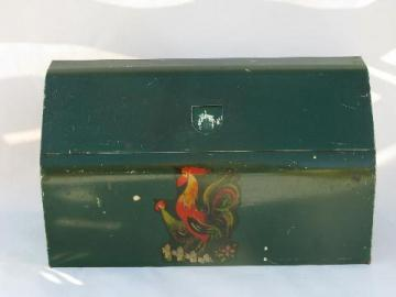 vintage kitchen paper towel / wax paper dispenser, painted metal w/ rooster