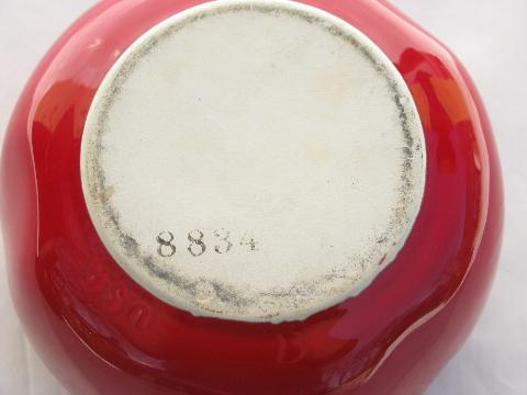 vintage kitchen pottery jam pot, big red tomato, marked USA
