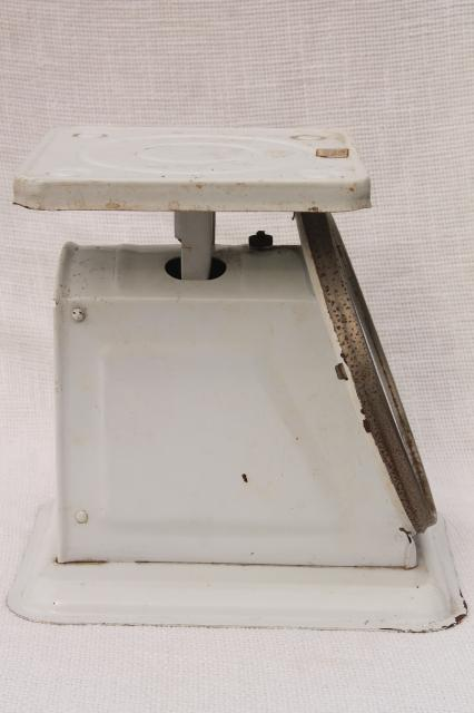 vintage kitchen scale, American Family 25 lb steel platform scale w/ dial face