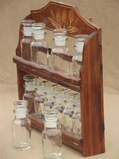 Vintage Kitchen Spice Rack Carved Wheat Wall Shelf W