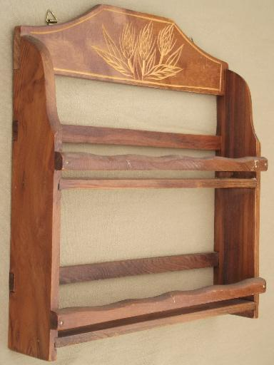 vintage kitchen spice rack, carved wheat wall shelf w/ glass bottles for spices