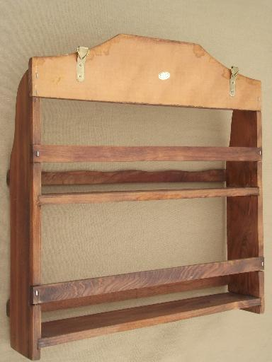 vintage kitchen spice rack, carved wheat wall shelf w/ glass bottles