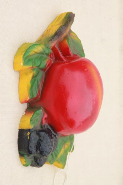 vintage kitchen string holder, big red apple chalkware fruit wall plaque