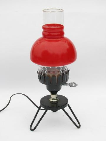 vintage kitchen table light, black iron w/ red glass lamp shade