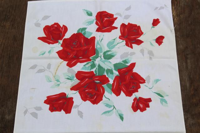 vintage kitchen tablecloth & dish towels, red & yellow rose print cotton fabric