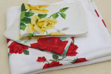 Vintage Kitchen Tablecloth U0026 Dish Towels, Red U0026 Yellow Rose Print Cotton  Fabric